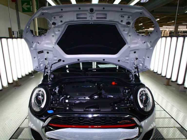 Une voiture Mini dans l'usine de production du groupe BMW à Oxford. Photo: Geoff Caddick/AFP